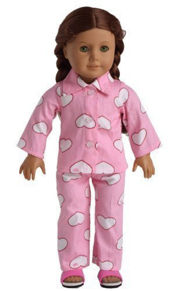 Pink Heart Pajamas for an American Girl Doll